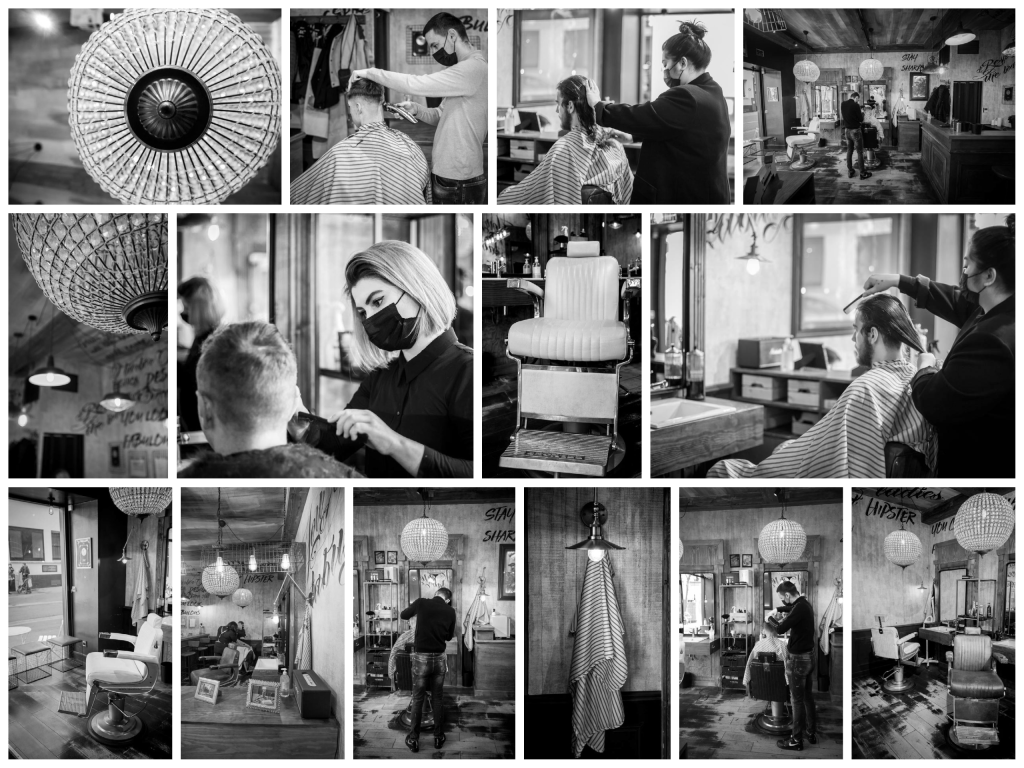 Photographs of the inside of the Barbershop.